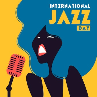 International jazz day illustration with woman singing