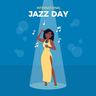 Международный день джаза в плоском дизайне