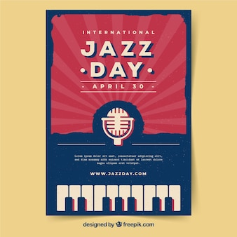 ヴィンテージスタイルの国際ジャズ・デイポスター