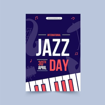 Шаблон плаката международного дня джаза в плоском дизайне