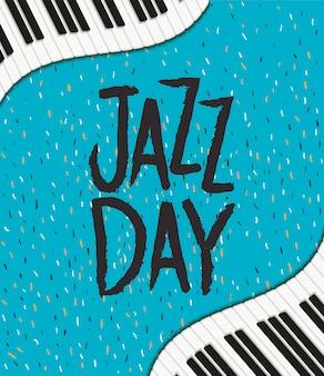 International jazz day poster with piano keyboard