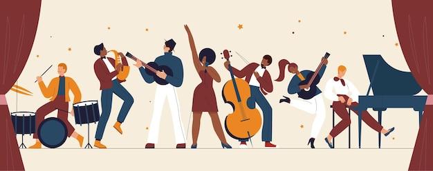 ライブミュージックバンドの国際ジャズデーレトロフェスティバルパーティーコンサートミュージシャン