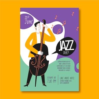 Шаблон вертикального плаката международного дня джаза с мужчиной и басом