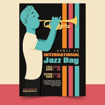 Шаблон вертикального плаката международного дня джаза с мужчиной и трубой