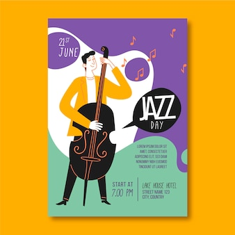 International jazz day vertical poster template with man and bass