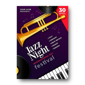International jazz day vertical poster template with trumpet and piano keys