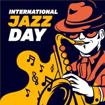 색소폰 연주 남자와 국제 재즈의 날