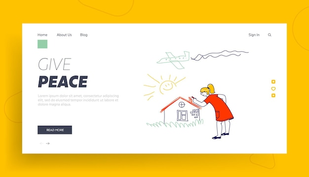 International kids day or peace day holidays landing page template.