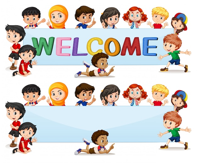 International kids on welcome lettering