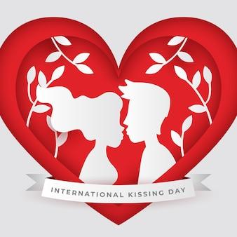 Иллюстрация международного дня поцелуев в бумажном стиле