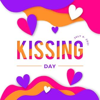 Illustrazione di giorno dei baci internazionale in stile carta