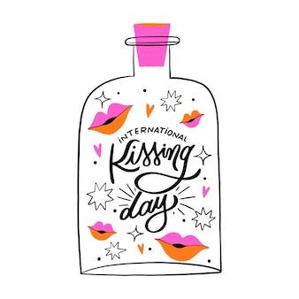 International kissing day lettering