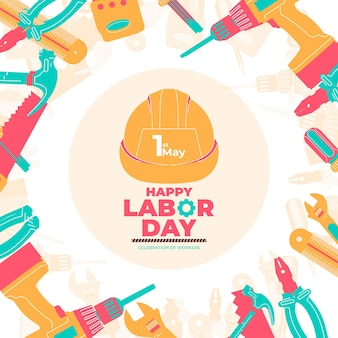 International labor day, international worker day on 1 may with helmet illustration