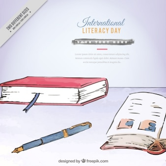 International literacy day background painted with watercolors