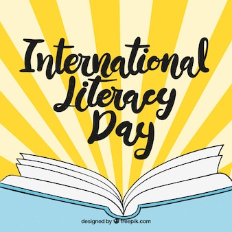 International literacy day background with hand drawn open book