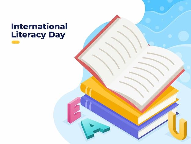 International literacy day cartoon illustration on 8th september suitable for poster banner tempate