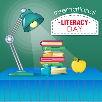 International literacy day concept, cartoon style
