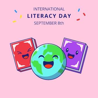 국제 문맹 퇴치의 날 귀여운 지구와 책 만화 삽화. 교육 마스코트 캐릭터.
