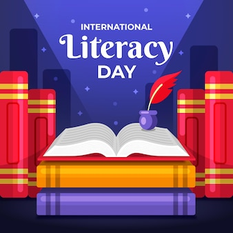 International literacy day flat design background