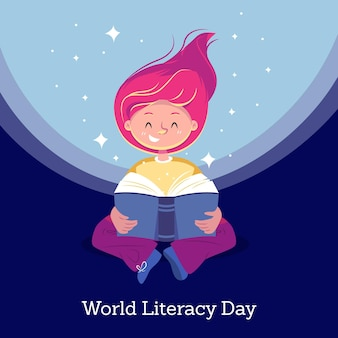 International literacy day in flat design