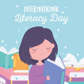 International literacy day, girl reading book and textbooks
