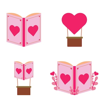 국제 문맹 퇴치의 날 그림입니다. 로맨틱 책 일러스트 디자인 컨셉