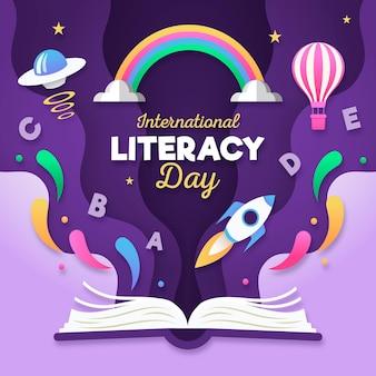Международный день грамотности в бумажном стиле