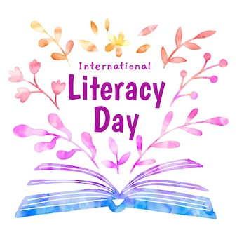 International literacy day open book and leaves