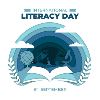 International literacy day in paper style concept