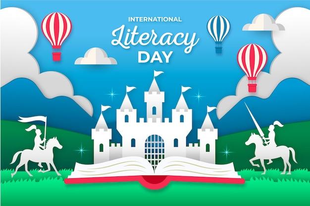 Giornata internazionale dell'alfabetizzazione in stile carta