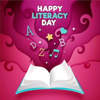 International literacy day in paper style