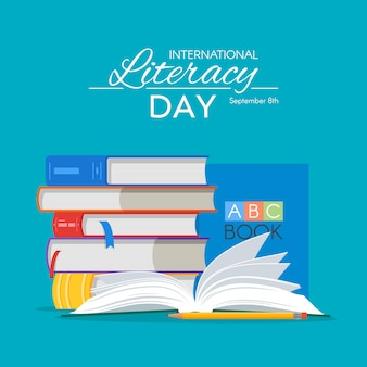 International literacy day poster. pile of books