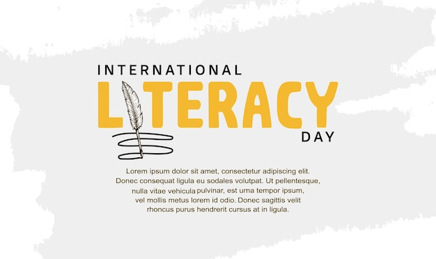 International literacy day typography with feather pen for background, poster and banner