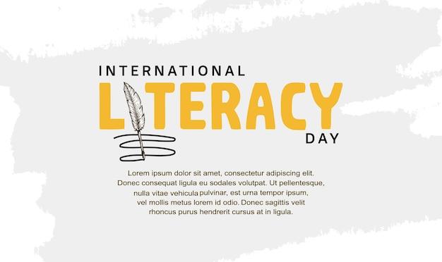 배경, 포스터 및 배너를 위한 깃털 펜으로 된 국제 문맹 퇴치의 날 인쇄술