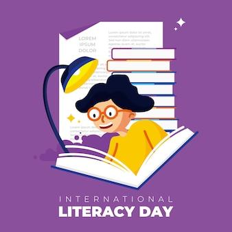 국제 문맹 퇴치의 날 벡터, 책을 읽는 학생. 이 디자인은 포스터, 배너, 배경, 소셜 미디어에 사용할 수 있습니다.