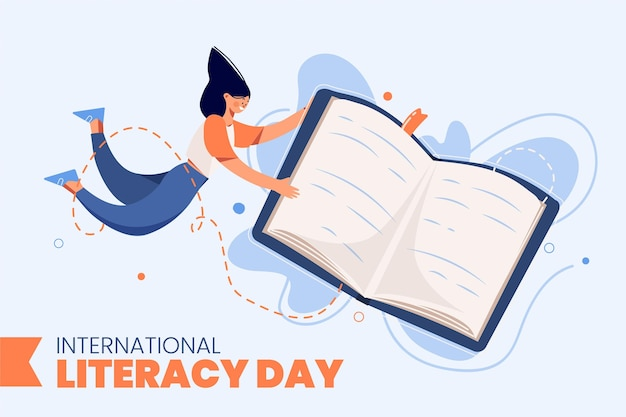International literacy day with book and woman