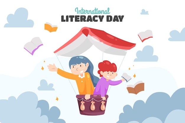 International literacy day with books and people