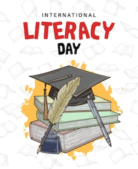 흰색 배경에 고립 된 다채로운 책 깃털 펜 잉크와 함께 국제 문맹 퇴치의 날