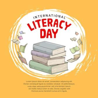 포스터를 위해 노란색 배경에 격리된 다채로운 책이 날아다니는 국제 문맹 퇴치의 날