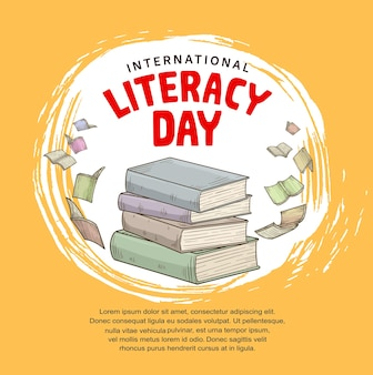 International literacy day with colorful books flying isolated on yellow background for poster