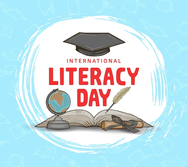 International literacy day with colorful globe, book and feather pen isolated on blue background