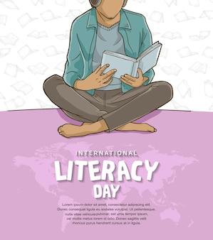 흰색 배경에 고립 된 책 그림을 읽고 다채로운 남자와 국제 문맹 퇴치의 날