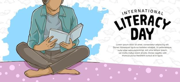 흰색 바탕에 책 삽화를 읽는 다채로운 남자와 함께하는 국제 문맹 퇴치의 날