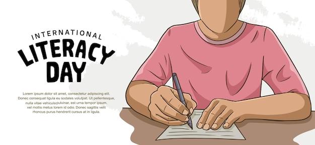 흰색 배경에 삽화를 쓰는 화려한 남자와 함께하는 국제 문맹 퇴치의 날