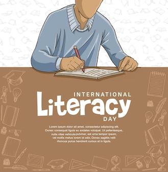 갈색과 흰색 배경으로 삽화를 쓰는 다채로운 남자와 함께하는 국제 문맹 퇴치의 날