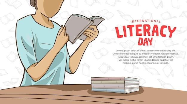 흰색 배경에 고립 된 책을 읽고 다채로운 여자와 국제 문맹 퇴치의 날