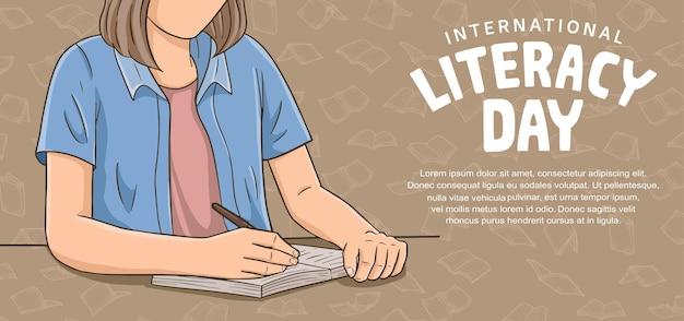 갈색 배경에 격리된 삽화를 쓰는 화려한 여성과 함께하는 국제 문맹 퇴치의 날