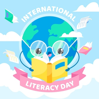 International literacy day with earth reading book