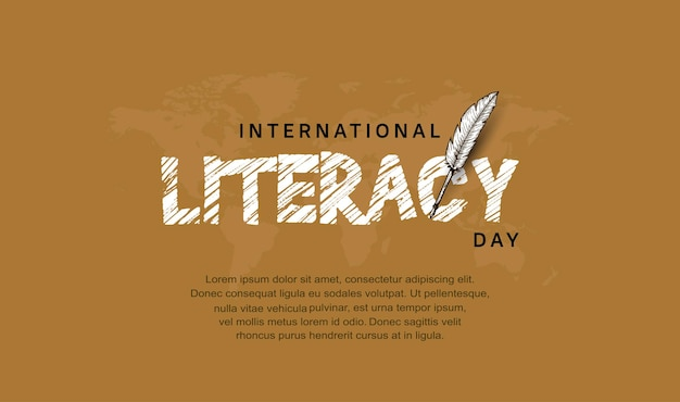 International literacy day with feather pen isolated on brown background