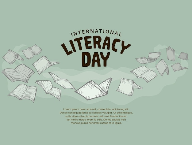 International literacy day with flying books isolated on soft green background